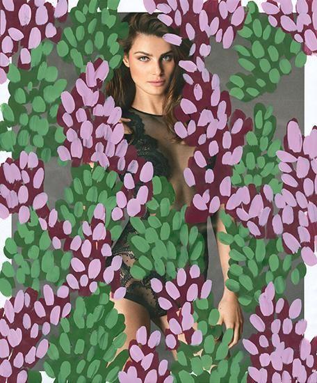 Untitled (Isabeli Fontana by Mert Alas and Marcus Piggott for La Perla), 2016, Acrylic on Magazine Page