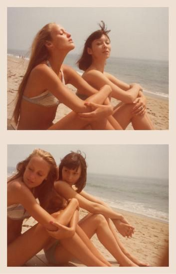 Jerry Hall and Adele Lutz, 1974, 	Two 3.25 x 4.5 inch unique vintage Kodak prints