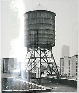 Bernd & Hilla Becher.  Water Tower: Broome St. / Mercer St.  1978.  23 x 19 3/4 inch gelatin silver print.