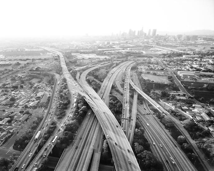 Highways 5, 10, 60 and 101 Looking West, LA River and Downtown Beyond, Los Angeles, CA; 2004, 24 x 30 inch pigment print - Edition of 10