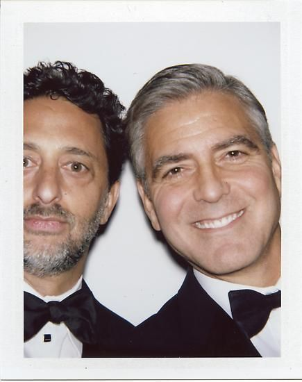 "Grant Heslov and George Clooney, 2013, 	3.5"" x 4.25"""