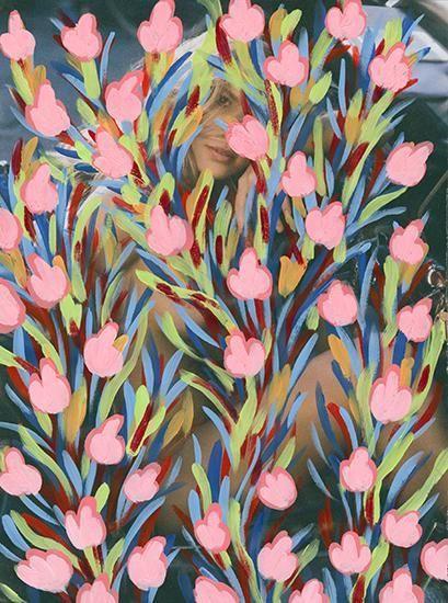 Untitled (Kristy Garett by Sasha Eisenman for Playboy - last nude playmate/last nude issue, January/February, 2016), 2016, Acrylic on Magazine Page