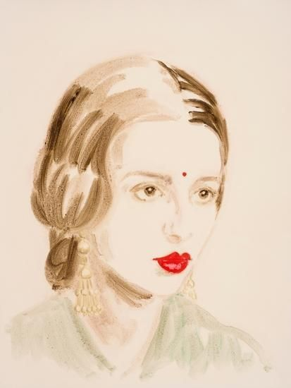 "Amrita Sher-Gil.  From the series ""The History of Art"".  Oil on paper.  16 x 12 inches."
