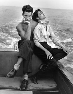Bruce Weber. Bruce and Talisa on my Chriscraft. Bellport, NY 1982.