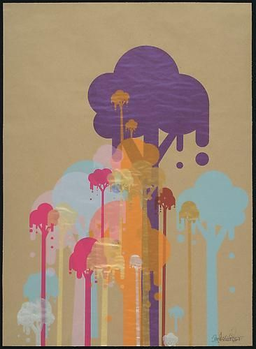 Ryan McGinness. Untitled (Ice Cream Trees).  2007.  36 x 25 inch unique silkscreen on craft paper.