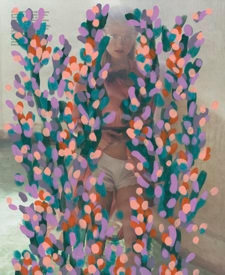 Untitled (Vita sidorkina by David Vandewal for Elle, June, 2016), 2016, Acrylic on Magazine Page