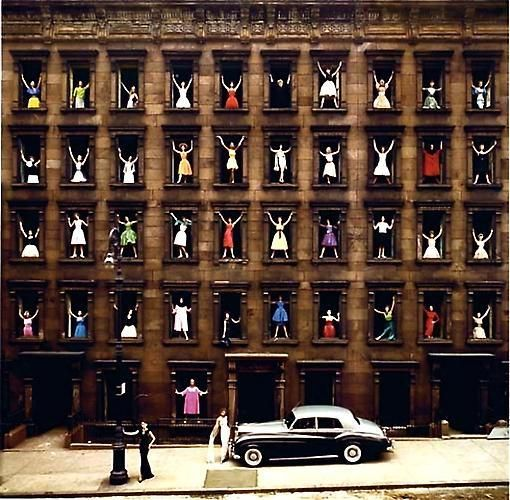 Ormond Gigli. Girls in the Windows.  1960 / printed 2008.  34 x 34 inch pigment print.