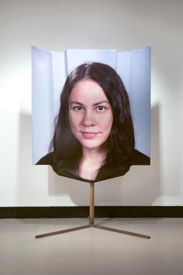 Monique Atherton, 	Untitled Portrait of the ARtist by William Sacco on the Hood of a 1970 Chevelle SS on Steel and Vinyl, 2015