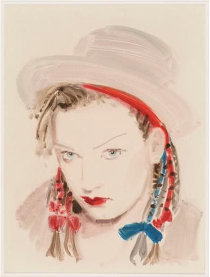 "Boy George.  From the series ""The Muses of Jean-Paul Gaultier"".  Oil on paper.  16 x 12 inches."