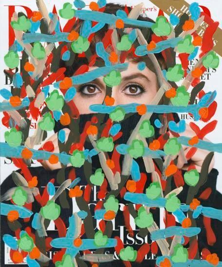 Untitled (Lena Dunham by Nathaniel Goldberg for Harpar's Bazaar cover, November, 2015), 2016, Acrylic on Magazine Page