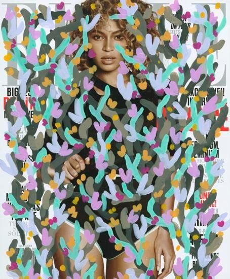 Untitled (Beyonce by Paola Kudacki for cover of Elle, May 2016), 2016, Acrylic on Magazine Cover