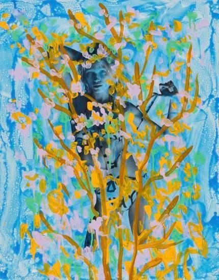 Untitled (Hana Jirickova by Daniel Jackson for The Last Magazine, Issue No. 14, Spring 2015), 2015, Acrylic, Urethane, and Magazine Page on Canvas