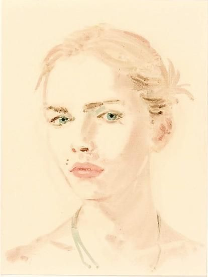 "Andrej Pejic.  From the series ""The Muses of Jean-Paul Gaultier"".  Oil on paper.  16 x 12 inches."