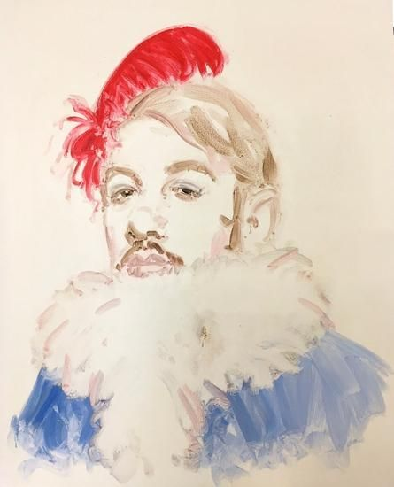 "Toulouse-Lautrec. From the series ""Drag"". Oil on wood. 20 x 16 inches."