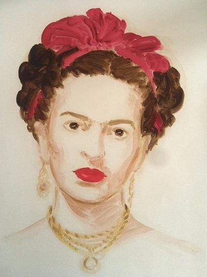 "Frida Kahlo.  From the series ""The History of Art"".  Oil on paper.  16 x 12 inches."
