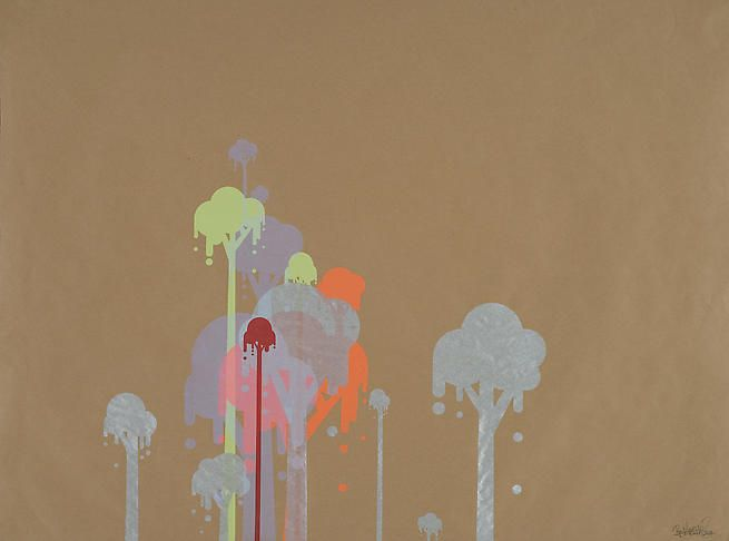 Ryan McGinness, Untitled 1 (Ice Cream Trees), 2007, 39 x 50 in.