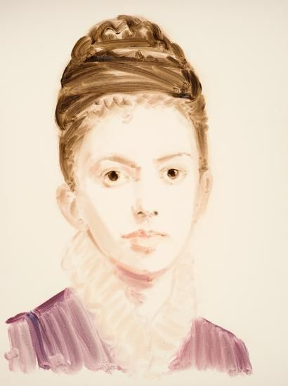 "Elizabeth Butler.  From the series ""The History of Art"".  Oil on paper.  16 x 12 inches."