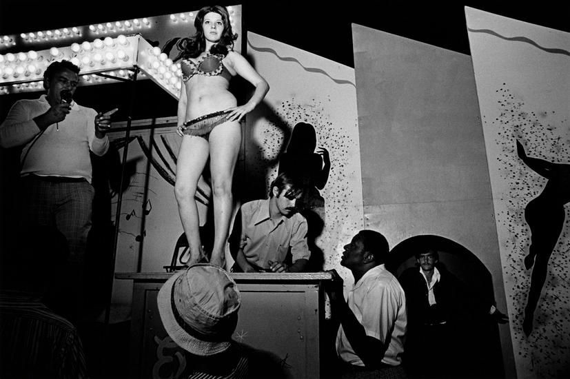 "Lena on the Bally Box, Essex Junction, VT, 1973, 	From ""Carnival Strippers"""