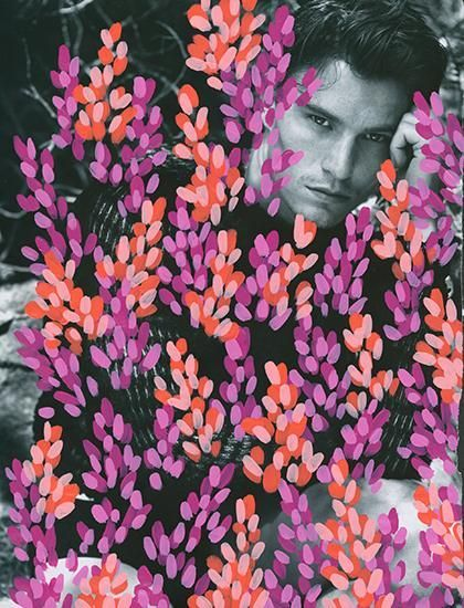 Untitled (Oliver Cheshire by Lawrence Spark for Seventh Man #10, Autumn/Winter 2015), 2016, Acrylic on Magazine Page