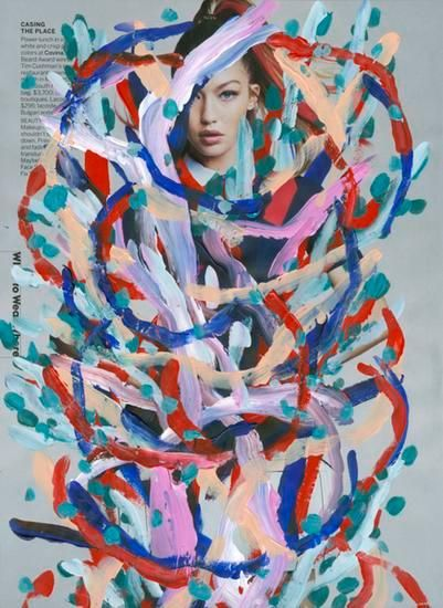 Untitled (Gigi Hadid by Patrick Demarchelier for Vogue, April, 2016), 2016, 	Acrylic on Magazine Page
