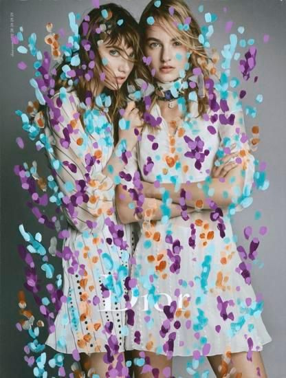 Untitled (Maartje Verhoef and Grace Hartzel by Patrick Demarchelier for Dior), 2016, Acrylic on Magazine Pages