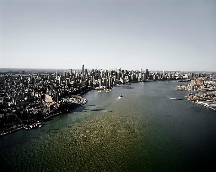 Michael Light, 	Manhattan and the East River Looking Northwest, 14th Street ConEd Generating Station at Left, NY, 2007