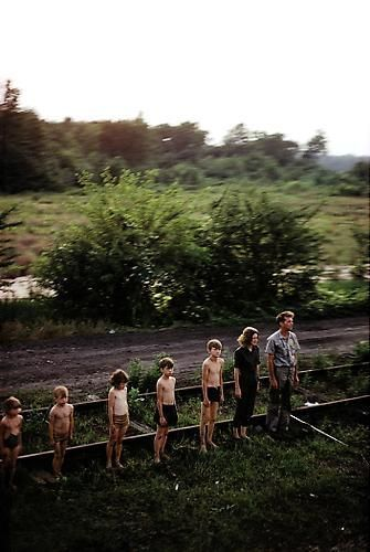 Paul Fusco. Untitled from RFK Funeral Train (Family in descending order).  1968 / printed 2008.  36 x 24 inch cibachrome.