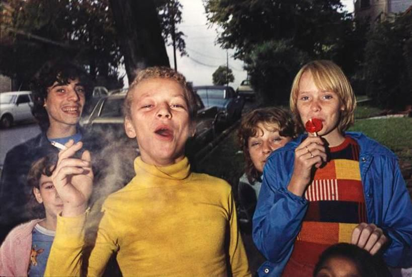 Boy in Yellow Shirt Smoking, Scranton, PA, 1977, 14 x 17 inch dye transfer print