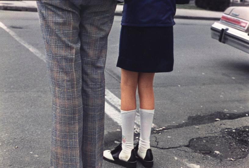 Girl and Man at Road, 1975, 14 x 17 inch dye transfer print