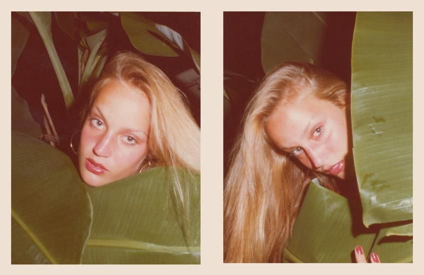 Jerry Hall. 1975, 	Two 4.5 x 3.25 inch unique vintage Kodak prints