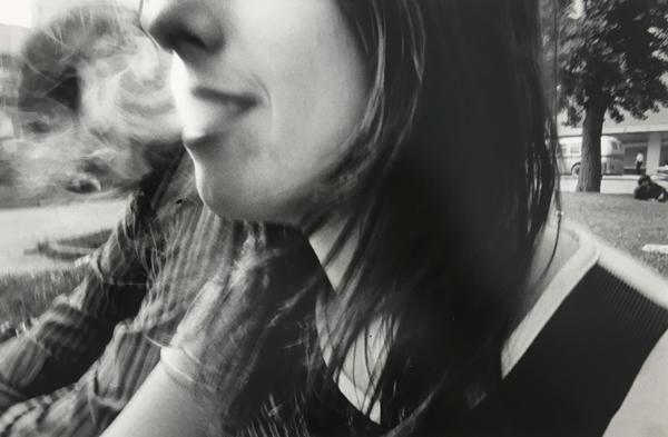 Exchanging Smoke on Square, 1971, 11 x 14 inch gelatin silver print