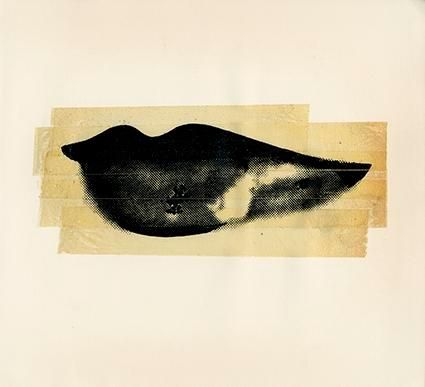 Lips, c. 1975, 	Unique Screenprint and Tape Collage