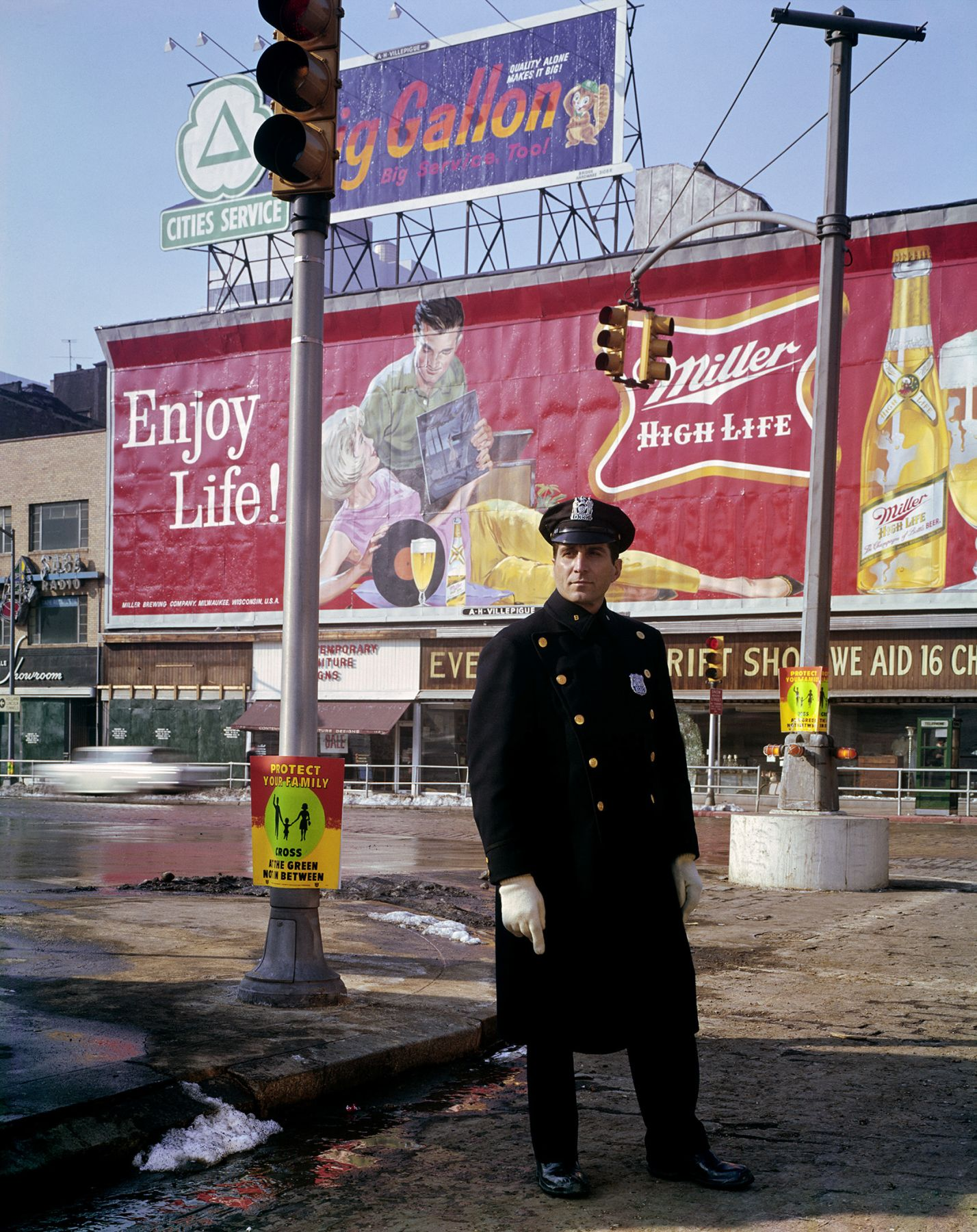 Policeman, 59th St., New York. 1964, 20 x 16 inch dye transfer print