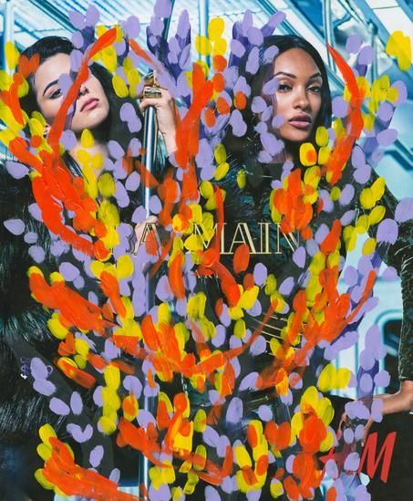 Untitled (Kendall Jenner and Jourdan Dunn by Mario Sorrenti for Balmain and H&M), 2016, 	Acrylic on Magazine Page