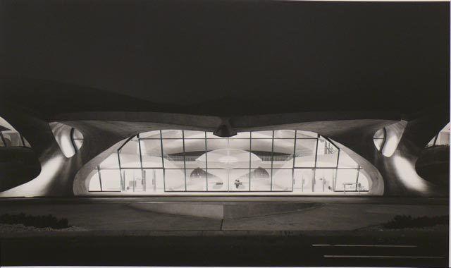 Ezra Stoller. TWA Terminal at Night.  Architect: Eero Saarinen.  1962 / printed c. 1996.  16 x 20 inch gelatin silver print.