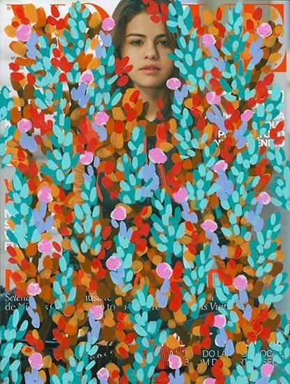 Untitled (Selena Gomez by Bruce Weber for Vogue Brasil, June, 2016), 2016, Acrylic on Magazine Page