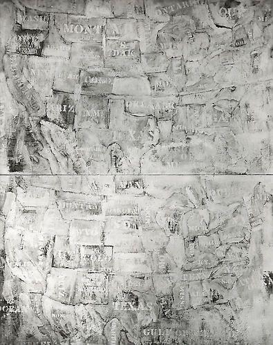 Double White Map, 8x10 inch Silver Gelatin Print