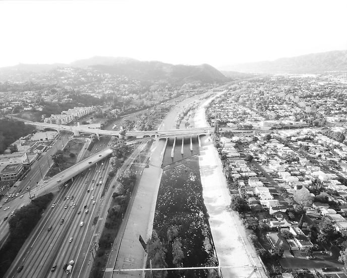 L.A. River Looking Northwest, I-5 and Los Feliz at Left; 2004, 	24 x 30 inch pigment print - Edition of 10