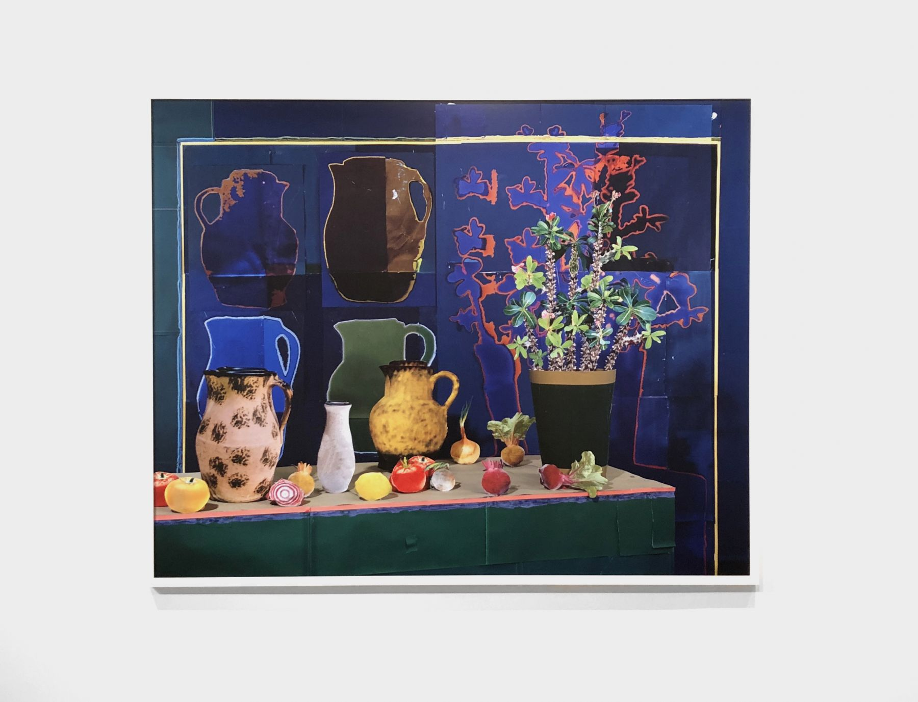 Daniel Gordon, Still Life with Vase, Shadows, and Vegetables. 2018