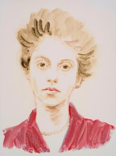 "Diane Arbus.  From the series ""The History of Art"".  Oil on paper.  16 x 12 inches."
