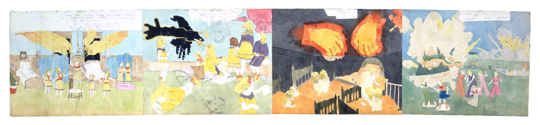 Henry Darger At Mccalls Run..., 1-at McCalls run, 2-a demon appears in room, 3-hands of fire, 4-Torrington imperaled by explosion, , Seized at cavern mouth and strangled senseless (verso), n.d.