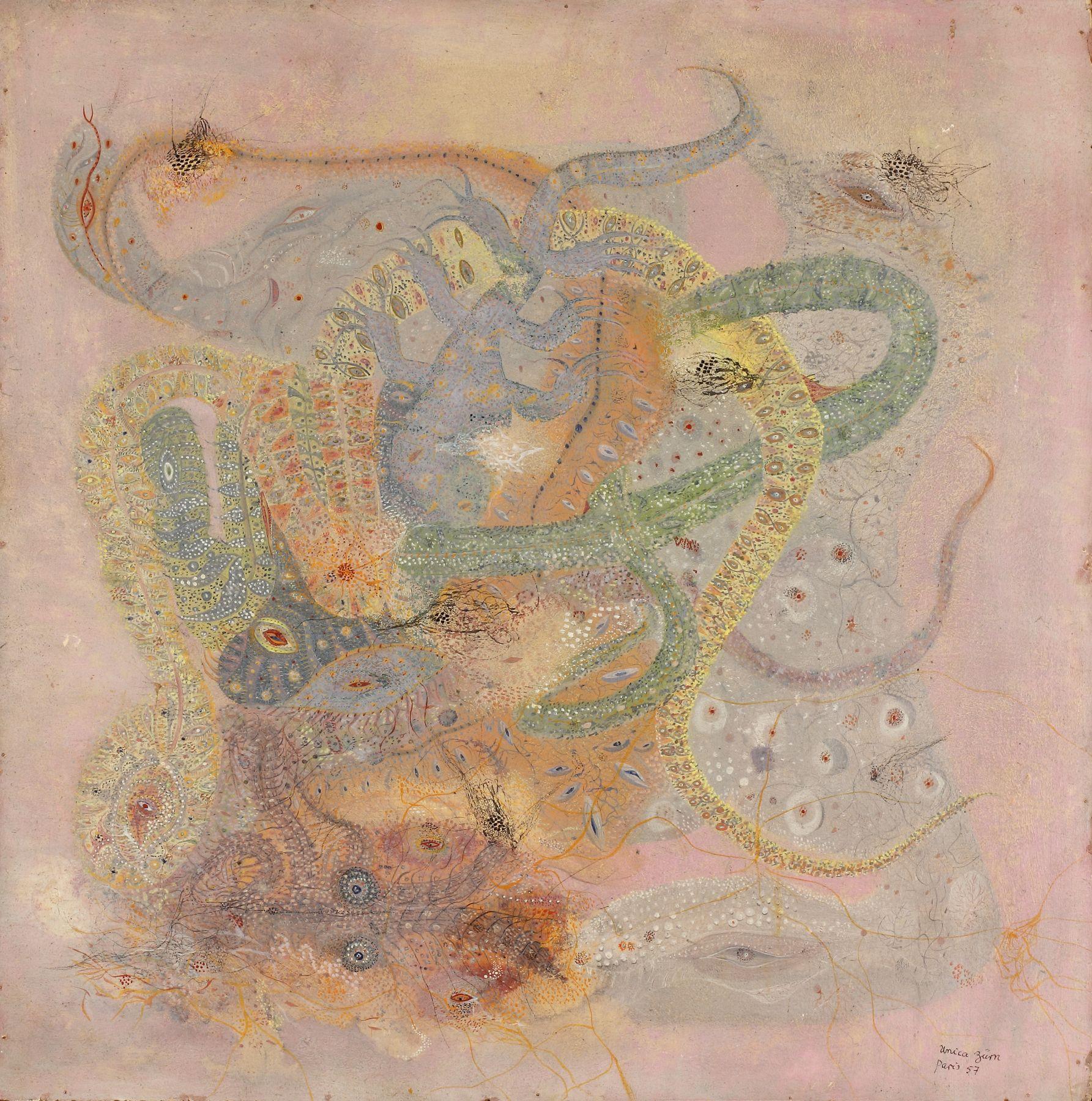 Unica Zürn(1916-1970) Germany/France, La Serpenta (The Serpent), 1957, Oil on panel, 19.5 x 19.5 in
