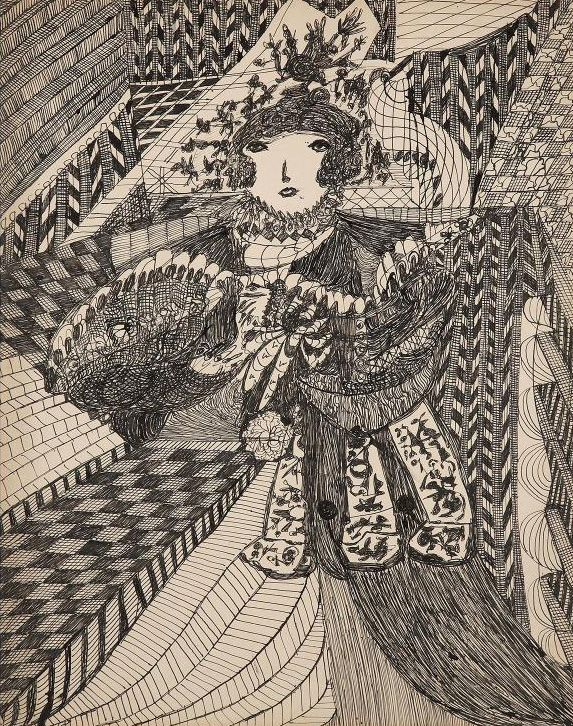 Madge Gill(1882-1961) United Kingdom, Untitled, 1953, Ink on paper, 26 x 20 in