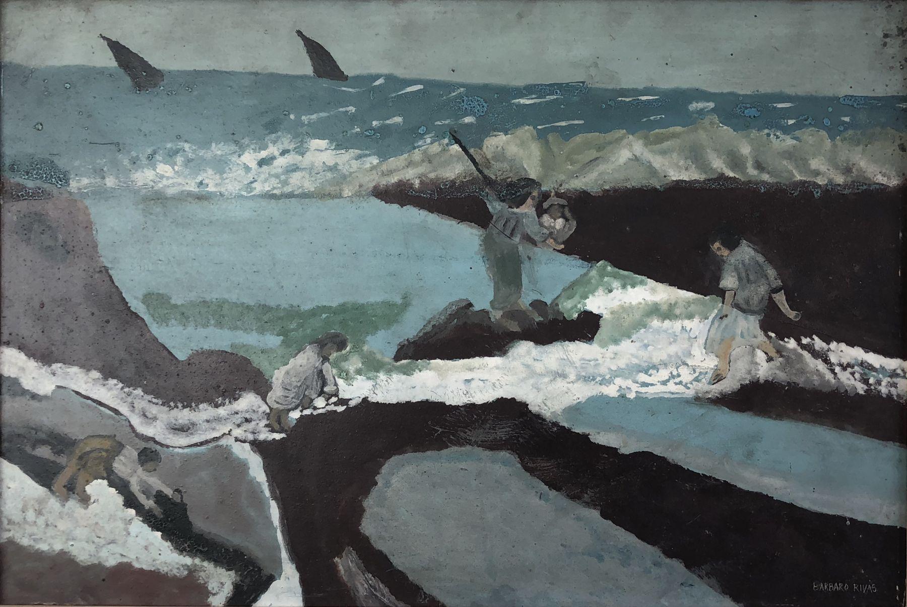 Bárbaro Rivas(1893-1967) Venezuela, La pesca milagrosa (The Miraculous Fishing), c. 1965, Enamel paint on Masonite, 13 x 19.25 in