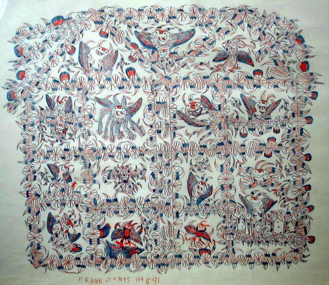 Frank Jones(1900-1969) USA, Tom Devil Gambling, c. 1964-69, Colored pencil on paper, 25x 30 in