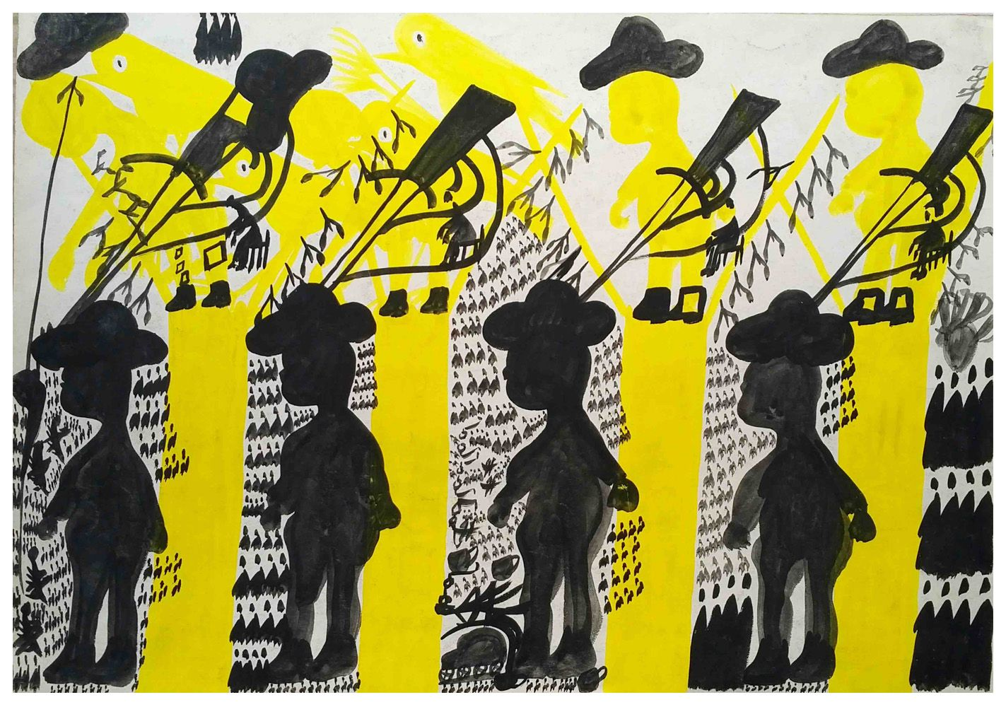 Carlo Zinelli (1916-1974) Italy, Untitled, 1960, Tempera on paper, 14 x 20 in