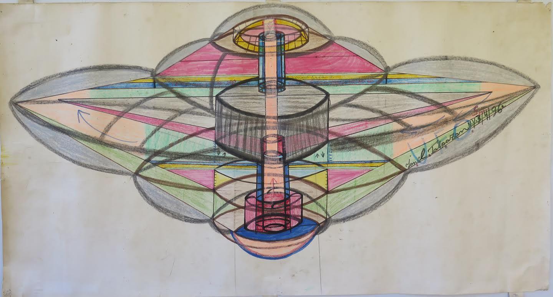 Ionel Talpazan(1955-2015) Romania/USA, UFO Art & Science #4, 1996, Mixed media on paper, 24.5x 48in