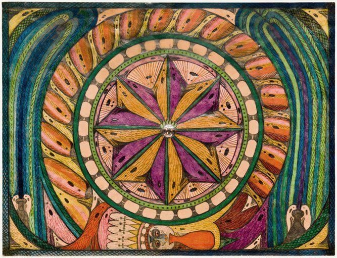 Adolf Wölfli(1864-1930) Switzerland, Bänggaalisches Feuerwärk (Bangali Firework), 1926, Colored pencil on paper, 18.5x 24in