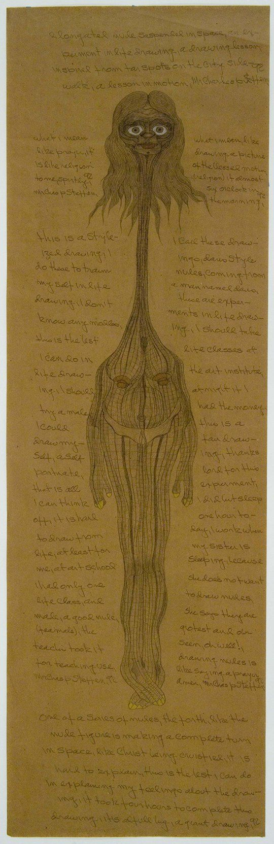 Charles Steffen (1927-1995) USA, Untitled (Elongated Nude, Suspended in Space), 1992, Graphite and colored pencil on paper, 96 x 30 in