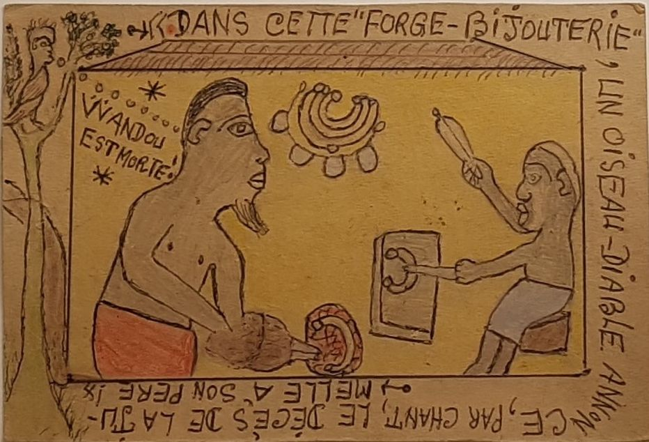 """Frédéric Bruly Bouabré(1923-2014) Ivory Coast, Légende des jumeaux Wandou et Dideïga (Legend of the twins Wandou and Dideïga), series of 33 drawings, 1992, colored pencil and ballpoint pen on cardboard,"""" 4 x 6 in"""